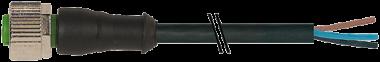 Connecteur M12 sortie fils, M12 femelle droit, Sans Led,