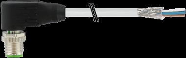 Cordon M12 mâle coudé blindé sortie fils