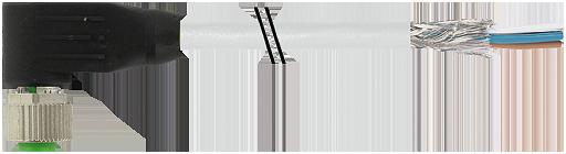 M12 Femelle coudé blindé libre de câblage.