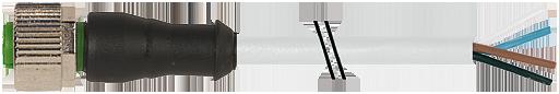 Connecteur M12 sortie fils, M12 femelle droit noir, Sans LED, 4